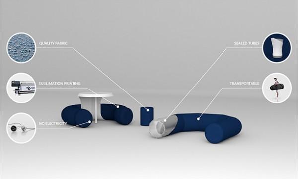 Pripučiami baldai su reklama AXION