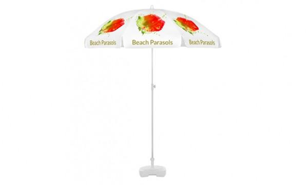 Paplūdimio skėčiai su reklama